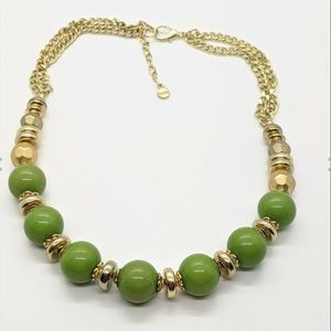 Ruby Rd Gold/ Green Large Bead Statement Necklace